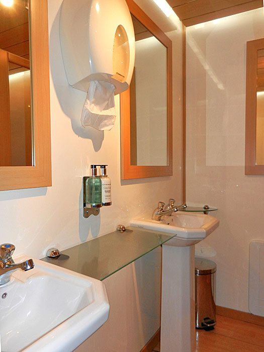 luxury trailer bathroom
